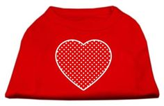 Mirage cat Products Red Swiss Dot Heart Screen Print Shirt, 3X-Large, Red ** Discover this special cat product, click the image : Cat Apparel