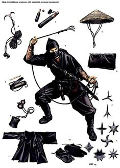 The ninja could use a diverse array of specialized weapons and equipment under appropriate circumstances. The majority of these ninja tools appear in Bansen Shukai, a famed seventeenth-century ninja manual. Arte Ninja, Ninja Kunst, Guerrero Ninja, Wayne Reynolds, Ninja Gear, Ninja Training, Martial Arts Weapons, Art Asiatique, By Any Means Necessary