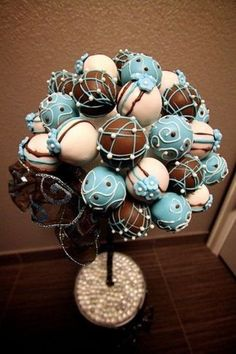 Cake Pop Bouquet - awesome idea for boy baby shower. Pink and brown for a girl :)