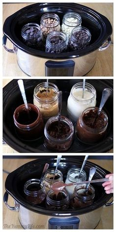 Melting chocolate in a crock pot. Good to know for making Pretzel wands!.
