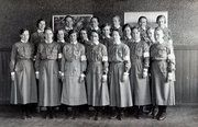 Members of Lotta Svärd, Finnish women's voluntary defense organisation, deemed too nationalistic and banned by the Soviet union.