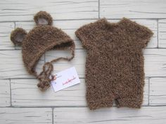 Bear set newborn photo props handmade wool accessori