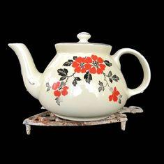 Excited to share the latest addition to my #etsy shop: Vintage Teapot Hall's Kitchenware Red Poppy Mini New York Teapot with Lid Halls Pottery 1940s Kitchen Vintage Kitchen Ceramic Teapot http://etsy.me/2D5YUM7 #housewares #white #housewarming #christmas #red #hallskit