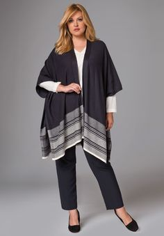 """This versatile and soft poncho adds a layer of style to any outfit. Wear over jeans or leggings for a flawless, fall look!  in a relaxed fit offering you the ideal partnership of comfort and style 34"""" long at longest point rib trim and patterned hem border side seams are tacked to create armholes cotton/cashmere machine wash; imported  Cotton cashmere poncho available in size 12/16, 18/24, 26/32 Fit and Fashion Notes:This poncho sweater is chic..."""