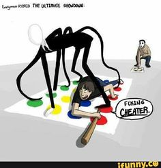 It's not cheating. He just has extra limbs. It's not his fault ur a boring human without extra limbs coming outta ur back. Now go sit in the emo corner with Silver and think about ur life. Creepypasta Slenderman, Creepy Pasta Family, Laughing Jack, Funny Memes, Jokes, Stupid Funny, Funny Stuff, Horror Stories, Funny Comics