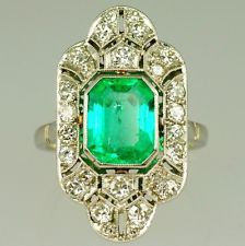 Vintage platinum art deco emerald & diamond ring | eBay UK