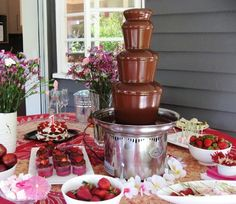 Great advice on how to use your commercial, or home chocolate fountain! Looks like it might be a birthday party for some lucky little old girl. Chocolate Fountain Rental, Chocolate Fountain Recipes, Chocolate Fountains, Chocolate Party, Hot Chocolate, Chocolate Font, Chocolate Heaven, First Birthday Parties, First Birthdays
