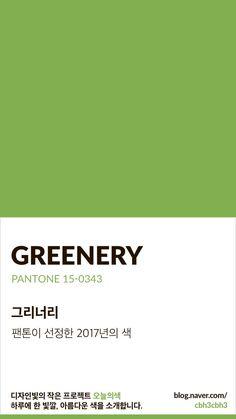 Color of today: Greenery디자인빛의 작은 프로젝트 오늘의색은 하루에 한 빛깔, 아름다운 색과 재미있는... Flat Color Palette, Colour Pallete, Color Schemes, Pantone Colour Palettes, Pantone Color, Colour Dictionary, Pantone Greenery, Colour Board, Color Stories