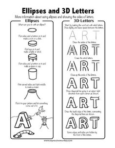"""Art Portfolio Cover Lesson: Drawing sheets and instructions to create the word """"ART"""" with letters that resemble wacky birds, or wacky monsters.  This is a perfect lesson for the front of your student art portfolios.  Students will have fun and also practice using what they've learned about creating space. 7 different printable to inspire your students!"""