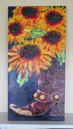 Texas Boot with sunflowers by Diane Kraft
