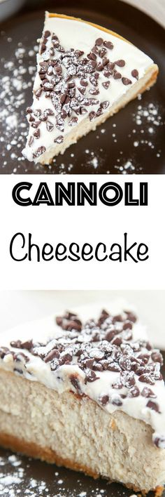 This Cannoli Cheesecake from Baking Beauty is your favorite Italian dessert in cheesecake form! The rich and creamy filling is made with mascarpone! No Bake Desserts, Easy Desserts, Delicious Desserts, Dessert Recipes, Yummy Food, Cheesecake Recipes, Cheesecake Strawberries, Cupcake Cakes, Bonbon