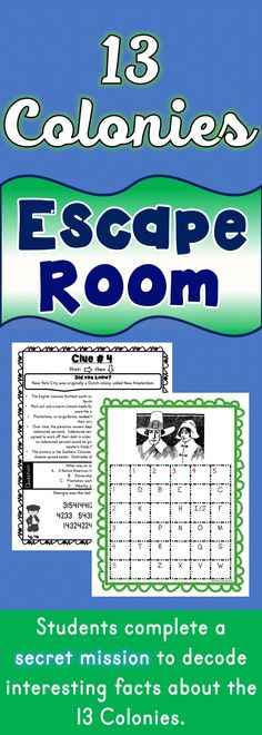 An escape room activity about the 13 colonies. Perfect for grade.An escape room activity about the World History Lessons, History For Kids, History Education, History Projects, Women's History, Teaching History, Art Education, Geography Activities, Social Studies Activities