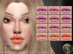 The Sims 4 Natural Lips 01 Tangerine Color, Sims Community, Sims Resource, The Sims4, Natural Lips, Sims 4, Lipstick, Makeup, Nature
