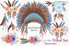 Watercolor tribal set by LeCoqDesign on @creativemarket