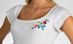 Embroidery Mania - T-shirt Kalocsa hand-embroidery - white - Hungarian Embroidery, Hand Embroidery, Embroidery Designs, Brother Embroidery, Folk Dance, Shirt Designs, Crafting, Hands, T Shirt