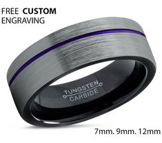 Tungsten Ring Mens Black Purple Wedding Band Tungsten Ring Tungsten Carbide 9mm Tungsten  Man Wedding Band Male Women Anniversary Matching
