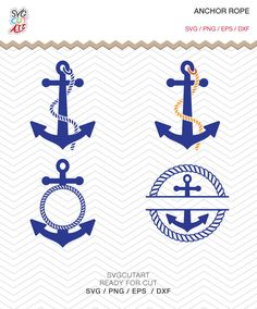Anchor Rope Nautical SVG DXF EPS png Cricut Design, Silhouette studio, Sure Cuts Lot, Make the cut, instant Download by SvgCutArt on Etsy