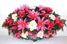 XL Beautiful Pink Spring Mixture Cemetery Tombstone Saddle Arrangement, $42.99