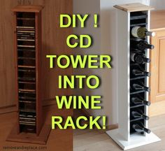 cool projects! how to make a wine rack from a cd tower
