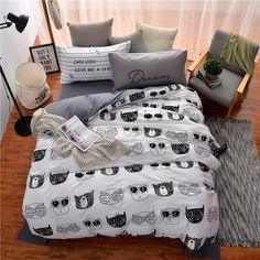 Mumgo Home Bedding for Adult Kids Kawaii Animal Head Pattern White Background Duvet Cover Set 100% Cotton Twin Full/Queen Size - Not Include Any Comforter (Full/Queen Size(4Pc/Set)) //Price: $119.59 & FREE Shipping //     #bedding