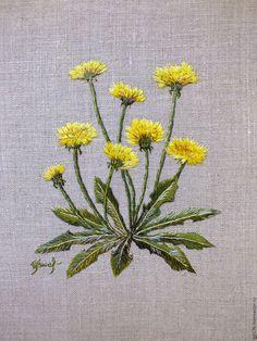 """Купить Вышитая гладью картина """"Одуванчики"""" - желтый, одуванчик, весна, солнце, художественная гладь"""