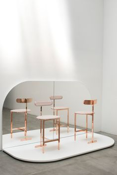 The Opus Residences Hong Kong / Lotte store / Copper stool / The Blink Collection / Side table from Avenue Road Furniture Editions
