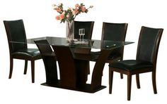 471DT & 470CH Dark Walnut Wood With Black Vinyl 5 Piece Dining Set - modern