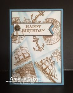 I was challenged to make a Retiform technique card and here's the result featuring Stampin' Up!'s Open Sea and Guy Greetings stamp sets which are available from my online store: http://angelaspaperarts.stampinup.net. Inspired by a Gina K card. #angelaspaperarts #masking #retiform