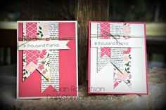 2 cards featuring Stampin' Up! Lots of Thanks stamp set, Typeset DSP, All Abloom DSP stack, CAS card perfect for any stamper!