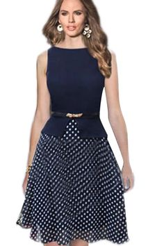 073627b01c 2017 New Women Summer Casual Elegant Polka Dot Print Dress Ladies Knee  Length Vintage Sexy Bodycon Work Office Dresses