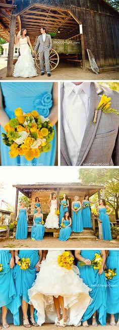 like the style of bridesmaid dress. Fresh Summer Wedding Turquoise Yellow