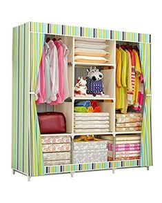 COSTWAY Cloth Wardrobe For clothes Fabric Folding Portable Closet Storage Cabinet Bedroom Home Furniture armario ropero muebles.