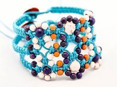 Beaded cuff macrame bracelet Flat wide cuff jewelry Waxed  cotton cord bracelet Waxed Hemp macrame Turquoise Bracelet Fall jewelry Orchid