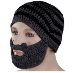 2016 Mens Fashion Color Cool Punk Warm Winter Knit Crochet Beard Beanie Mustache Face Mask Ski Snow Warmer Hat Cap Free Shipping