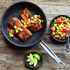 Seared wild sockeye salmon with a corn, jalapeño, tomato, cucumber, cilantro and lime juice salsa. A lovely pop of flavour to brighten the day! Hope you're all doing well! Cooked in my ProBond TITUM NonStick pan. Sockeye Salmon, Non Stick Pan, Kitchen Decor, Kitchen Ideas, Grill Pan, Lime Juice, Cilantro, Acai Bowl, Cucumber