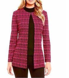 Ming-Wang-Rose-Black-Textured-Knit-Jacket-M