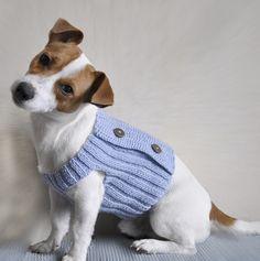 Tres botones tejer patrones ropa para perros suéter