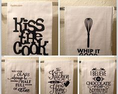 #Kitchen #Towels - Set of 5 Funny Dish Towels - #Funny Kitchen Decor.. #Funny…