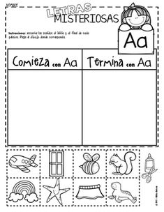 This activity is great for differentiation among diverse groups of learners. Students that are able will identify words that begin or end with the letter a. Initial and found sound focus. Preschool Spanish, Spanish Teaching Resources, Spanish Activities, Letter Activities, Learning Spanish, Learning Activities, Spanish Songs, Spanish Lessons, Preschool Education