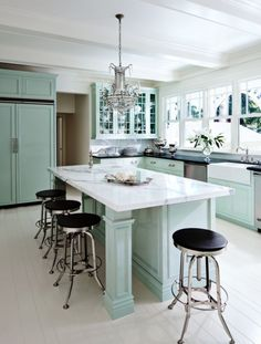 Teal accents stand out in this kitchen completed by Ross Painting. #luxeSanFran
