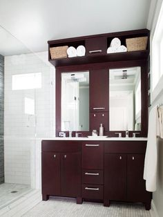 Design Ideas.  I like this one for a small counter space but give you 2 sinks Contemporary Bathrooms from TerraCotta Properties on HGTV