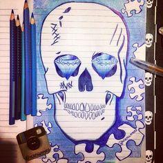 from @kanunnes - ☠✒️✏️ #sketch #sketchbook #sketchoftheday #skull #draw #Regrann