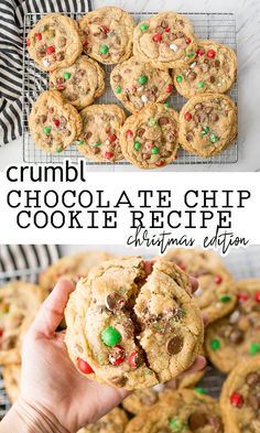 Crumbl Chocolate Chip Cookie for Christmas are giant, chewy and decadent. Holiday Cadbury Chocolates give these Copy Cat Crumbl Cookies the perfect Christmas flare. Christmas Chocolate Chip Cookies, Chocolate Marshmallow Cookies, Chocolate Chip Shortbread Cookies, Toffee Cookies, Spice Cookies, Yummy Cookies, Christmas Cookies, Christmas Treats, Crumble Cookie Recipe