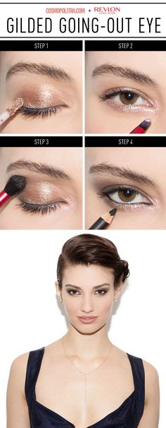 """GILDED EYE MAKEUP: This look is both subtle and sexy, making it perfect for a dates or any night out! Create the look by brushing a light gold cream shadow on eyelids. Then blend it with your finger to diffuse from your lash line to crease. Next, highlight the inner """"V"""" corner of your eyes with a pale pink shadow. Then apply a darker eye shadow color to the crease to create dimension, followed by black liner applied to your inner upper and lower lash lines. Click through for the full…"""