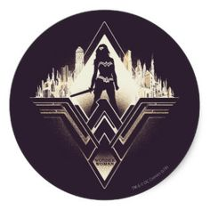 Wonder Woman City and Logo Spraypaint Outline Classic Round Sticker