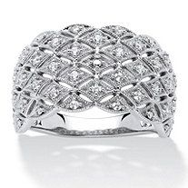 1/4 TCW Round Diamond Lattice Ring in Platinum over Sterling Silver - $229.99