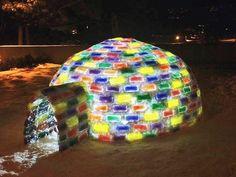 cold? just plain cool:  this SJU student enjoys building an igloo
