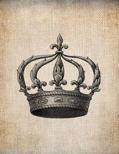 Antique Crown Royalty 2 King Queen Prince Princess Illustration Digital Download for Papercrafts, Transfer, Pillows, etc Burlap No 1391