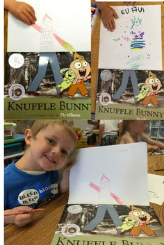 """Thank you PreK class at the Sandpipers Early Learning Center. We love the drawings you created inspired by """"Knuffle Bunny"""" and #BookFaceFriday. Always look at the end of our Little Kids' Book Club posts for original artwork created by young readers."""
