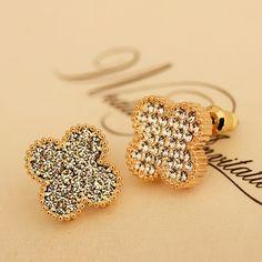 [$33.00] Retro Gold Full Diamond Crystal Wedding Stud Earrings - Free Shipping